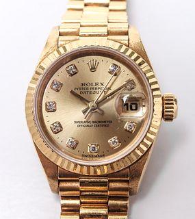 18K Gold Rolex Lady's DateJust President Watch