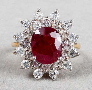 18K Yellow & White Gold Ruby & Diamond Ring