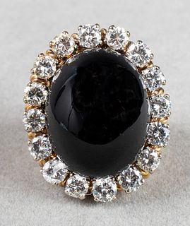 Mid-Century Modern 18K Gold Diamond & Onyx Ring
