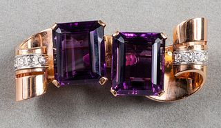 14K/Platinum Amethyst & Diamond Double Clip Brooch