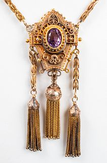 Antique 14K Yellow Gold & Amethyst Tassel Necklace