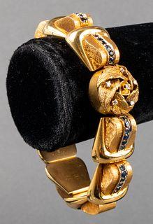 18K Yellow Gold Diamond & Sapphire Bracelet