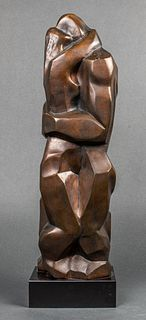 "Irving Amen ""Embrace"" Modern Bronze Sculpture"