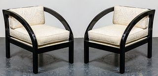 James Mont Style Black Lacquered Arm Chairs, Pair