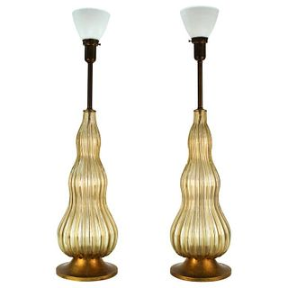 Mid-Century Modern Murano Glass Table Lamps, Pr