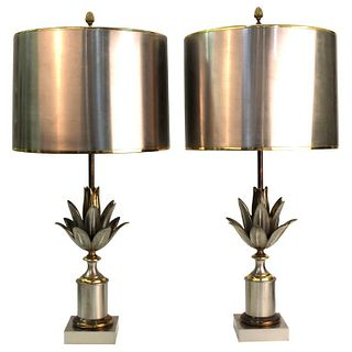 Maison Charles French Modern Artichaut Lamps, Pair