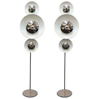 Enrico Tronconi Italian Modern Floor Lamps, Pair