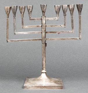 Judaica Sterling Silver Modern Menorah