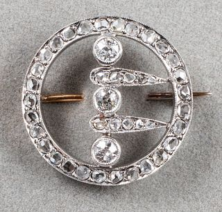 Antique Platinum & 18K Gold Diamond Circle Pin