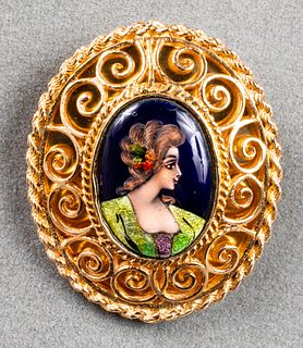 14K Yellow Gold Enamel Portrait Brooch/Pendant