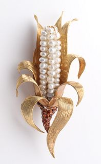 18K Yellow Gold, Pearl & Citrine Corn Clip Brooch