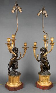 Louis XV Style Bronze And Gilt Bronze Lamps, Pair