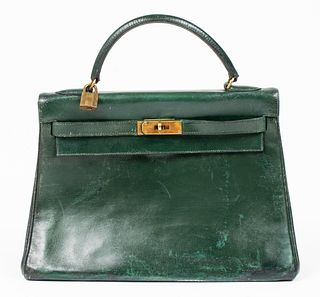 Hermes Green Leather Kelly 32 Handbag