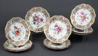 Schumann Dresden Reticulated Porcelain Plates, 9