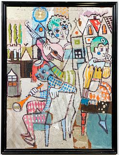 Illegibly Signed Judaica Folk Art Mixed Media