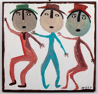 "Mose Tolliver ""Three Figures"" Outsider Art"