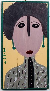 "Mose Tolliver ""Portrait of Woman"" Outsider Art"