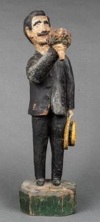 "Carved Wood ""Man with Bouquet & Hat"" Sculpture"
