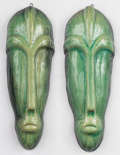 Delgado Mid-Century Modern Ceramic Masks, Pair