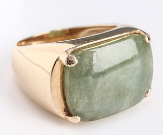 Vintage Chinese 14K Yellow Gold & Jade Ring