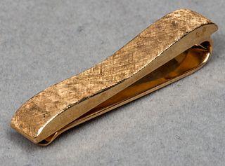Vintage 14K Yellow Gold Florentine Tie Clip