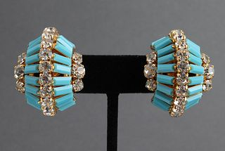 Christian Dior Crescent Faux-Turquoise Earrings