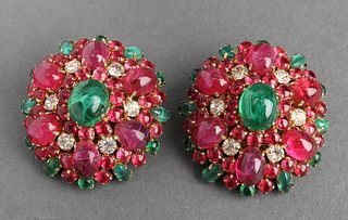 Christian Dior Poured Glass Clip-On Earrings, 1970