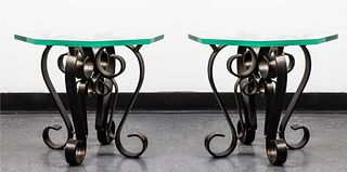 Scrolled Metal & Glass Top Side Tables, Pair