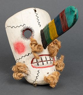 Mexican Folk Art Polychrome Wood Mask