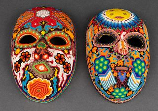 Huichol Colorful Beaded Masks, Mexico, 2