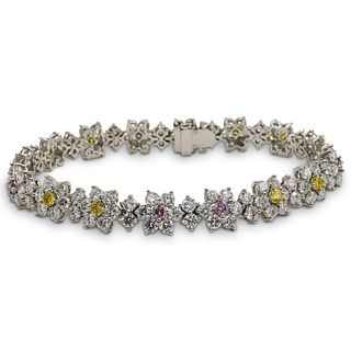 11.60ct Fancy Yellow and Pink Diamond, 18k Floral Bracelet