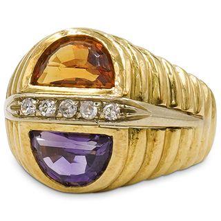 18k Gold Amethyst, Citrine and Diamond Ring