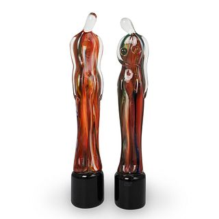(2 Pc) Mario Badioli (Italian, 1940-) For Oggetti Figural Glass Statues
