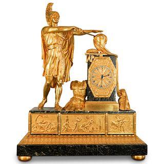 Attrib Pierre-Francois Feuchere Empire Ormolu and Marble Mantle Clock