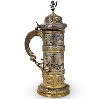 18th Cent. German Silver and Parcel Gilt Tankard