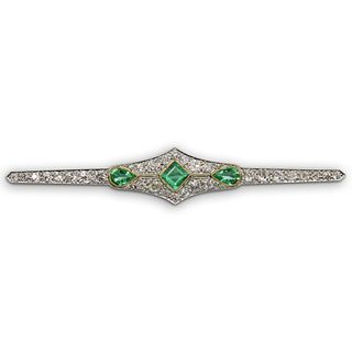 French 18k Gold, Emerald and Diamond Brooch