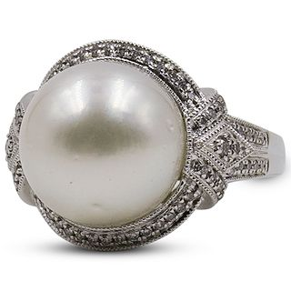 14 Gold Pearl, and Diamond Ring