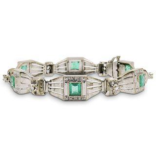 18k Gold , Colombian Emerald and Diamond Bracelet
