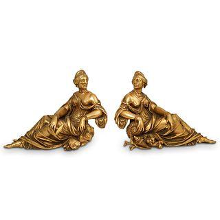 Charles Stanislas Matifat Figural Gilt Bronze Andirons