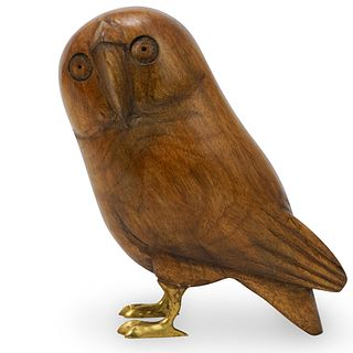 Sergio Bustamante Wood Owl Sculpture