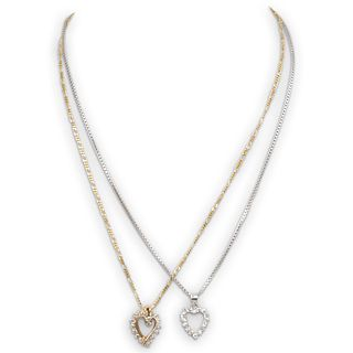 (2 Pc) 14k Gold and Diamond Heart Necklaces