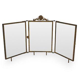 Antique Bronze Folding Vanity Mirror