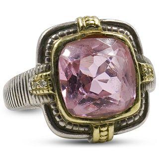 David Yurman Style Sterling Silver & Gold Ladies Ring