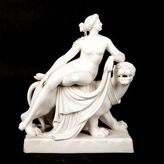 19th Century Minton Parian Ware Figure, Ariadne On Panther