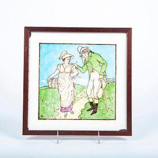 Minton Ceramic Pictorial Tile, Couple Talking, Framed