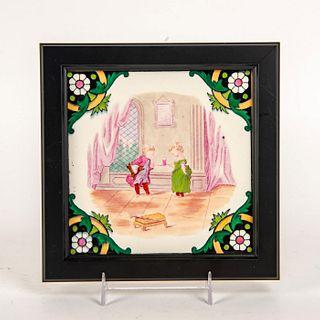 Minton Victorian Style Tile, Children's Tea Party, Framed