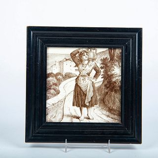 Minton William Wise Transferware Tile, Girl With Jug, Framed