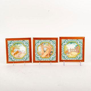3 Minton Ceramic Fable Pictorial Tiles, Wolf Hunt