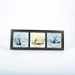 3 Pc Minton, Hollins And Co. Tiles, Farm And Country, Framed