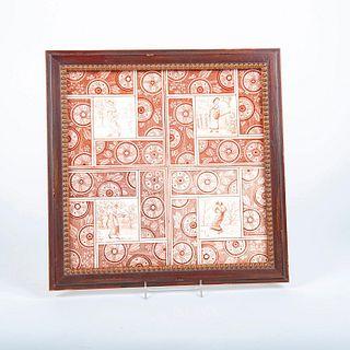 4 Pc Minton Ceramic Transferware Tiles, Four Seasons, Framed